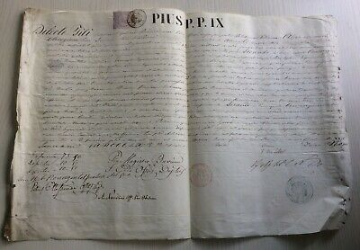 LAC VERY RARE PAPAL BULLA Parchment Vellum in name of Pope PIUS IX 1864 AN XIX
