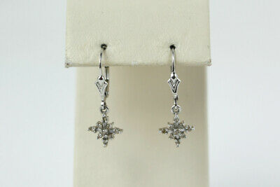 Sparkling 14k White Gold Diamond Star Dangle Earrings