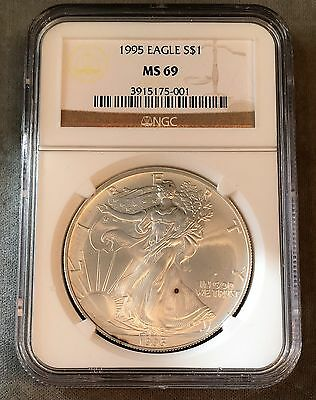 1995 Uncirculated American Silver Eagle - 1oz Pure Silver - NGC MS69  SPOTS#5001