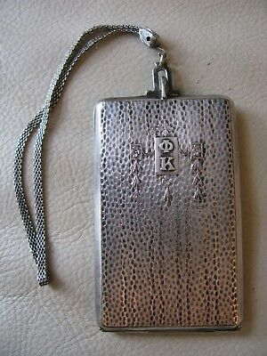 Antique Hammered Silver T Wreath Braided Chain Beveled Mirror Compact Greek Φ Κ