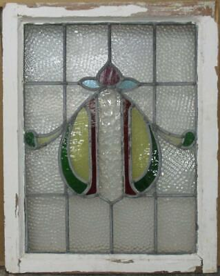 "MID SIZED OLD ENGLISH LEADED STAINED GLASS WINDOW Pretty Abstract 21.25"" x 27"""