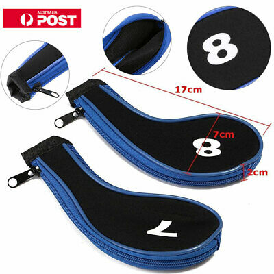 12Pcs set Blue Golf Clubs Iron Head Covers Headcovers with Zipper Long Neck