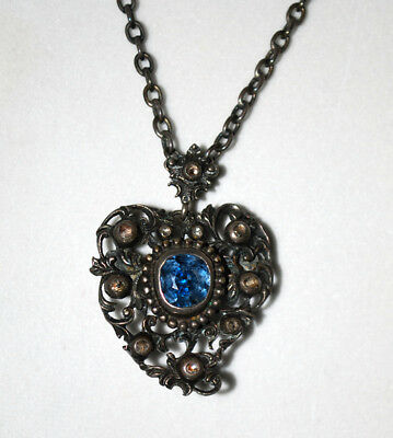 Beautiful Antique Georgian Diamond and Spinel Heart Necklace / Brooch