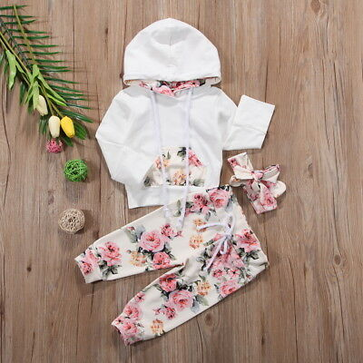 Baby Boy Girl Infant Clothes Hooded Tops Pants Infant Outfits Sets Tracksuit AU