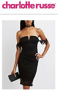 5592fa96d64 NWT CHARLOTTE RUSSE Floral LACE Off The SHOULDER Notched DRESS ...