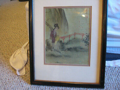 Original Antique Chinese Oil painting on Cork Signed with COA