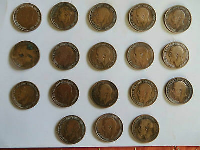 Great Britain One Penny George V Coin 18 Pcs Lot Different Years  Rare Mix Lot