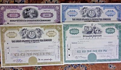 Vintage Sign Share Certificate 4pcs Great Atlantic Howard Johnson Gulf States(3)