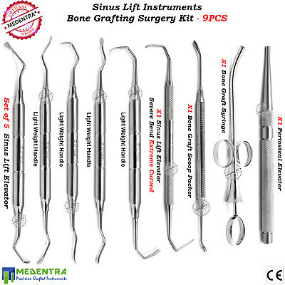 Sinus Lift Periosteal Elevators Set Implantology Bone Compactor Grafting-Syringe