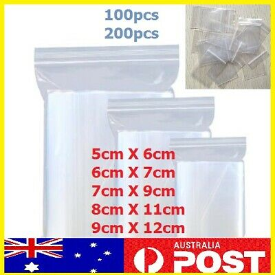 5pcs-200pcs AU Zip Lock Plastic Bags Reclosable Resealable Zipper 5 sizes Thick