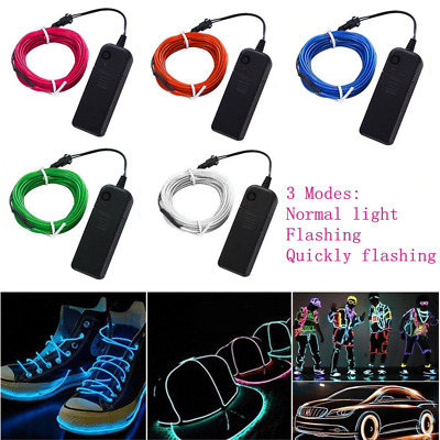 Neon LED Light Glow EL Wire String Strip Rope Tube + Controller Cars Party Decor