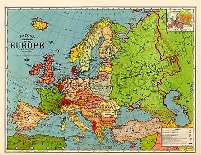 """Bacon's Standard Wall MAP of EUROPE circa 1921 24"""" x 32"""" Big Large Print Poster"""