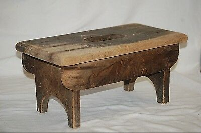 Vintage Primitive Wooden Step Stool Country Rustic Farmhouse Bench Barn Cabin