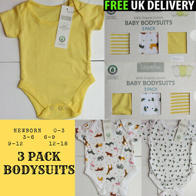 Baby Boys Girls Organic Bodysuits Vests Rompers Babygrows (3 Pack ) 12-18 Months