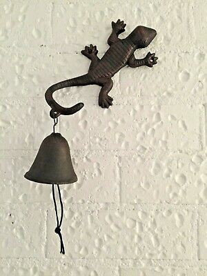 Cast Iron Antique Lizard Gecko Vintage Door Bell Wall Mounted Doorbell Garden