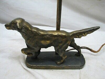 Cast Iron Irish Setter Pointer Dog Lamp Brass/Bronze Finish Figural Hunting