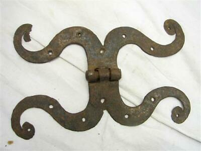 Antique Blacksmith Hand Forged Iron Rams Horn Shutter/Door Hinge Ornate Hardware