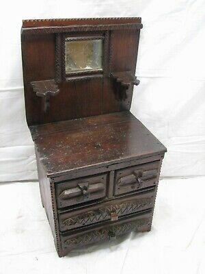 Folk Art Wooden Tramp Art Hand Carved Childs Doll Dresser Chest Buffet w/Mirror