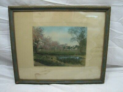 Early Wallace Nutting Hand Colored Photo The Blooming Meadow Print Cherry Trees