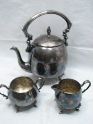 Antique Coffee/Tea Set Sheridan Silver On Copper Plate Teapot Pot Sugar Creamer