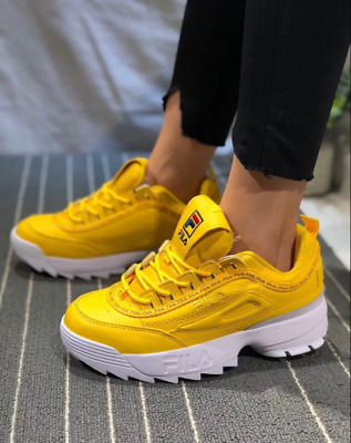 5f9c34915d48 Womens Fila Disruptor II Premium Athletic shoesTrainers yellow color UK FAST