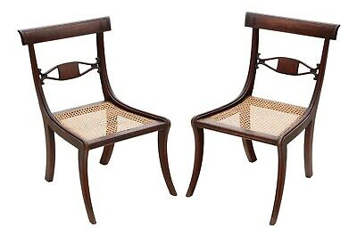Antique pair of Regency C1825 mahogany cane dining chairs hall bedroom
