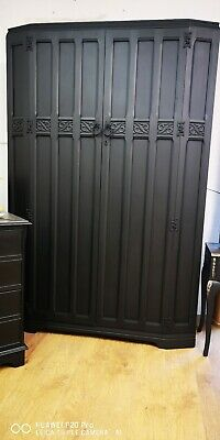 Antique linenfold double wardrobe Vintage shabby chic bedroom furniture