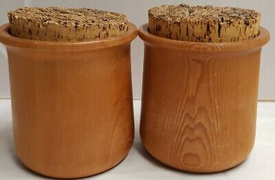 Tasmanian Huon Pine Turned Jars with Cork Stoppers Canisters Containers 10cm