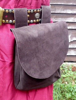 """Brown Leather Pouch Bag Cosplay LARP Medieval Reenactment 5"""" x 6.5"""""""