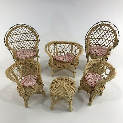 Vintage Barbie Doll Wicker Rattan Furniture with Cushions Lot Peacock Back Chair
