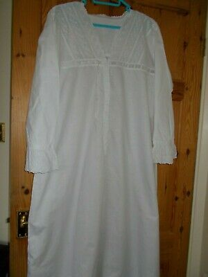 Antique  White Cotton Nightdress with Anglaise Trim