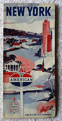 1963 American Oil Co Highway Travel Road Map Of New York #Wm9