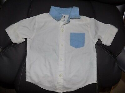 Janie And Jack White/Blue Button-up Shirt Size 12/18 Months Boy's EUC HTF
