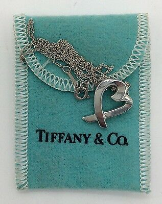 """Sterling Silver Tiffany & Co. Paloma Picasso """"Loving Heart"""" 18"""" Pendant Necklace"""