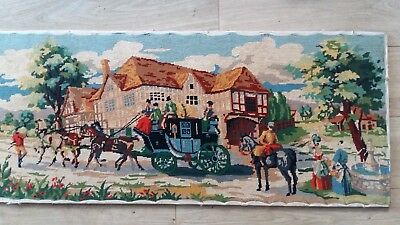 """Handworked completed tapestry """"THE COACH INN"""" 108cm x 45cm (approx 42""""x 18"""")"""