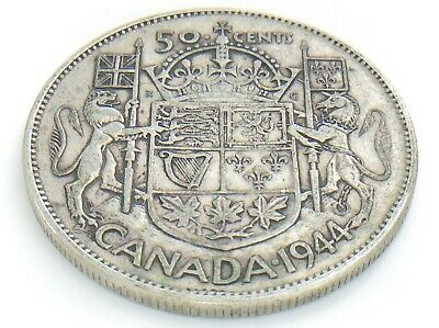 1944 Canada 50 Fifty Cent Half Dollar Circulated George VI Canadian Coin J207