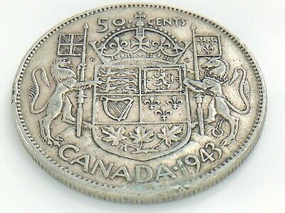 1943 Canada 50 Fifty Cent Half Dollar Circulated George VI Canadian Coin J209