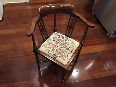 Antique Inlay Mahogany Corner Chair - Tapestry Cushion-Brandt Hagerstown, Md