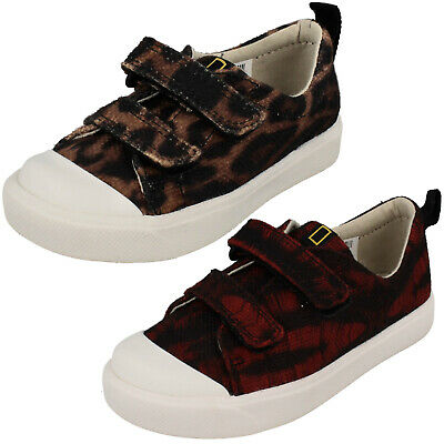 Boys Girls Clarks City Geo T Hook & Loop Trainers Canvas Shoes Casual Pumps Size