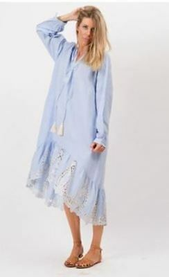 25cf88332abd6 Fillyboo Blue Little Talks Maternity Folk Style Shirt Dress Boho Peasant  Size L