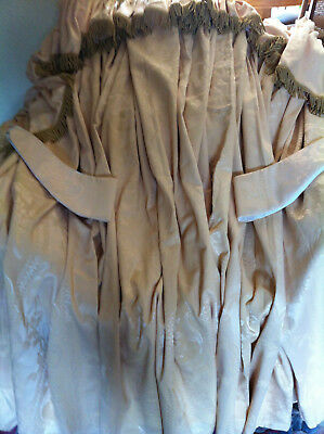 1 Pair Handmade Gold Fully Lined Curtains w/ Shaped Fringed Pelmets & Tie Backs