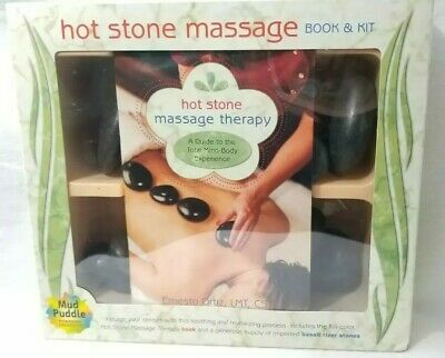 Hot Stone Massage Therapy Book & Kit Relaxation Basalt Stones Mud Puddle NEW