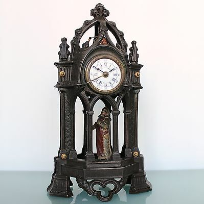 Antique French CLOCK Mantel Alarm UNUSUAL ANIMATED! BRONZE FIXED PENDULUM RARITY
