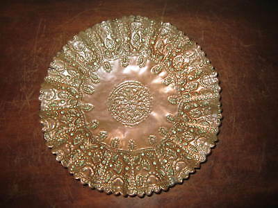 An old Victorian hammered copper plaque / bowl / plate