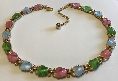 RARE VINTAGE CROWN TRIFARI MOLDED FRUIT SALAD RHINESTONE NECKLACE z1