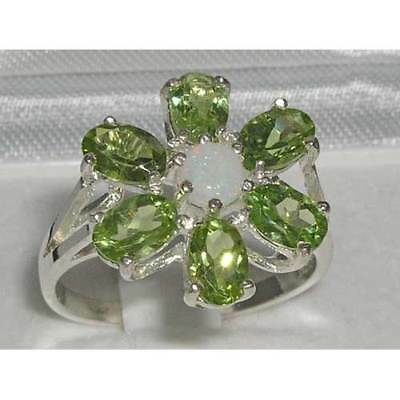 Solid English Sterling Silver Ladies Opal & Peridot Large Flower Ring