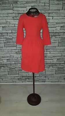 Size UK 8 Whistles Jude Coral Pink Textured Skater Swing Cotton Day Work Dress