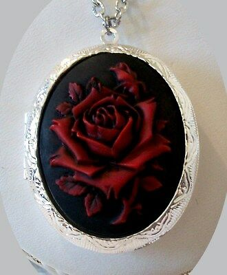 RED ROSE Hand Painted CAMEO Silver Pltd LOCKET NECKLACE - Vtg Victorian Insp.