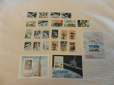 Lot of 24 Grenada Stamps from 1973, 1976-1978 Space, Shuttle, Mars Mission, More