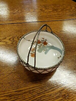 Antique Japanese Awaji Pottery Bowl with Woven Silver Basket Overlay and Handles